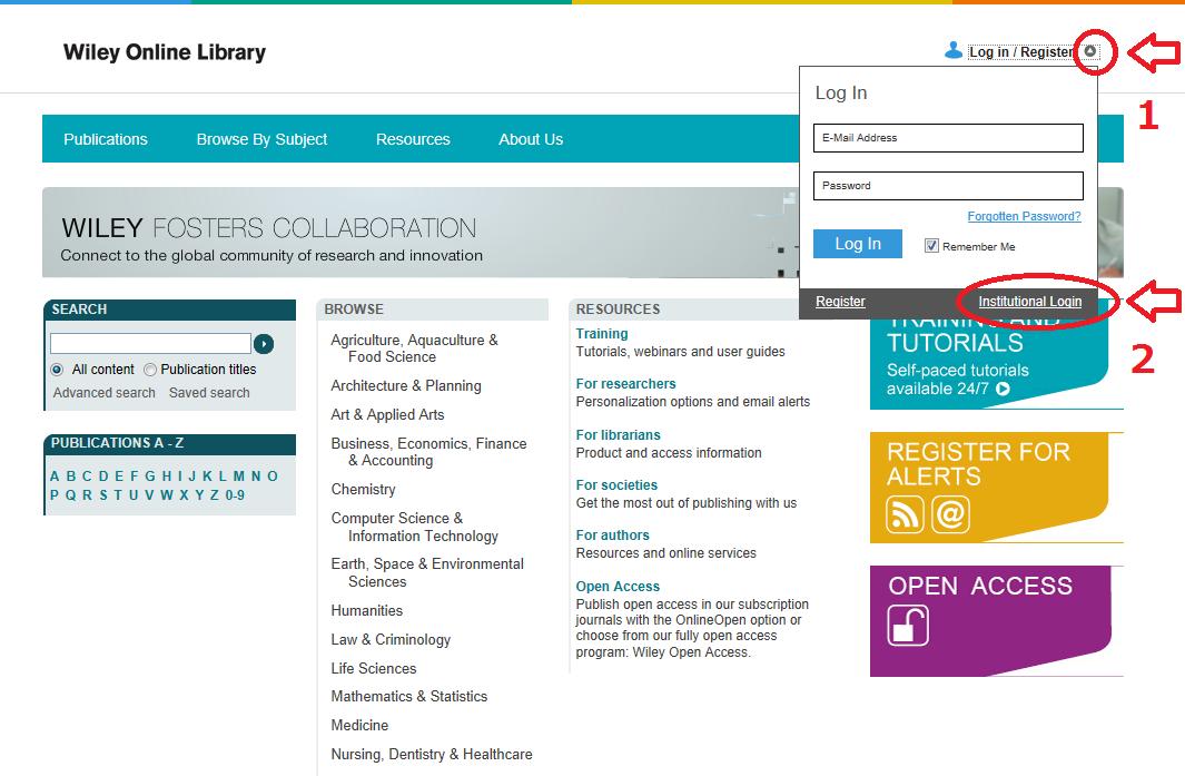 wiley online libraryがシングルサインオンで学外から利用できます